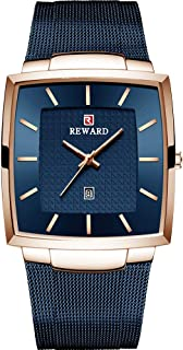 DEAVALLY Men's Rose Blue Mesh Strap Waterproof Square Watch