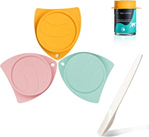 MSBC Silicone Pet Food Can Covers Set of 3 with 1 Melamine Pet Spoon, Pet Food Can Lids Fit Multiple Sizes for Dog Cat Food, Durable Flexible Tight Seal Cover BPA Free Dishwasher Safe