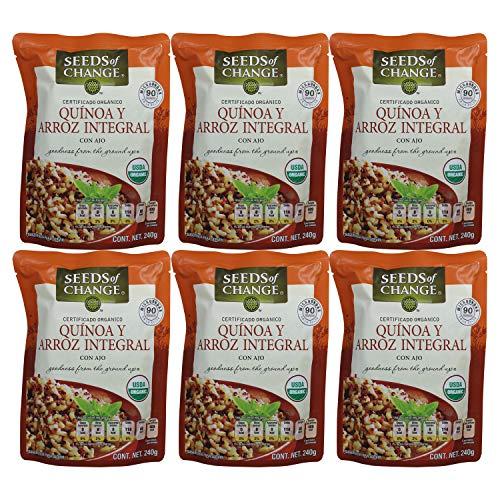 Caja Quínoa- Arroz Integral Organico Cocido Seed - 6 Piezas de 240 g, Total: 1440 g