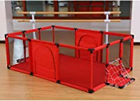 WGYDREAM Baby Playpen, Baby Playpen Foldable & Compact, Portable Play Center Fence with Breathable Mesh for Babies Toddler, Indoor and Outdoor Play,football Frame+Creeping mat(180 * 120cm)