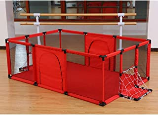WGYDREAM Baby Playpen  Baby Playpen Foldable  amp  Compact  Portable Play Center Fence with Breathable Mesh for Babies Toddler  Indoor and Outdoor Play football Frame Creeping mat 180 120cm