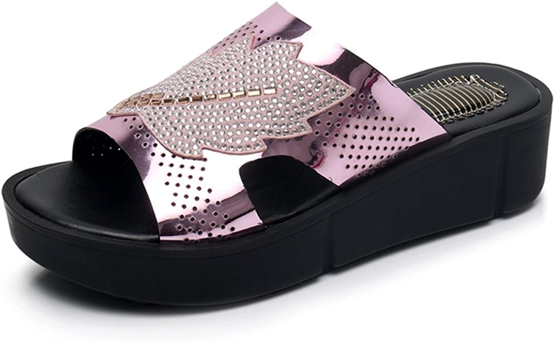 GIY Women's Rhinestone Platform Slide Sandals Open Toe Comfort Glitter Anti-Slip Summer Beach Wedge Sandal