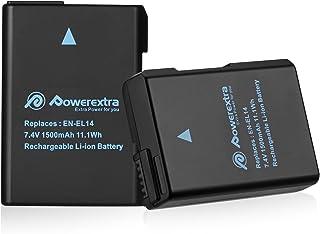 Powerextra Batería Nikon EN-EL14 EN EL14a para Nikon D3100 D3200 D3300 D3400 D5100 D5200 D5300 D5500 Coolpix P7000 P7100 P7700 P7800 en el14a DSLR Cámara