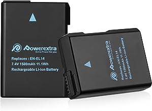 Powerextra Batería de Repuesto Nikon EN-EL14 EN EL14a para Nikon D3100 D3200 D3300 D3400 D5100 D5200 D5300 D5500 Coolpix P7000 P7100 P7700 P7800 en el14a DSLR Cámara