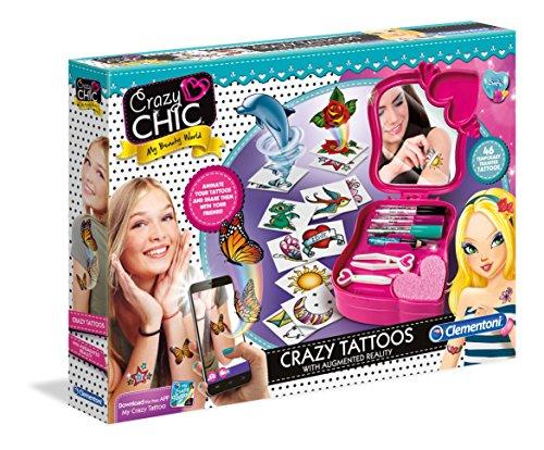 Clementoni 15166 Crazy Chic – Crazy Tattoos mit App, Glitter Tattoo-Set, magische Foto- & 3D-Effekte dank App, funkelndes Kreativ-Set für Kinder ab 6 Jahren
