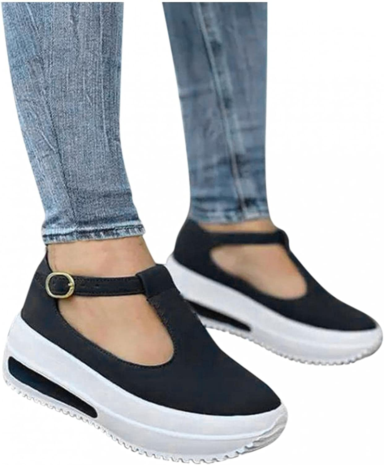 Hbeylia Platform Fashion Sneakers With Arch Support For Women Comfort Casual Chunky Bottom High Heels Slip On Loafers Low Top Walking Shoes Fall Dress Work Sandals Shoes For Ladies