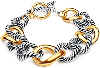 Cable Bracelets for Women, Designer Inspired Women Jewelry Antique Vintage Gold Unique Fashion Charm Two Tone Chain Link Bracelets Bangle for Women Teen Girls Couple With Pearl B,Color Gold And Silver