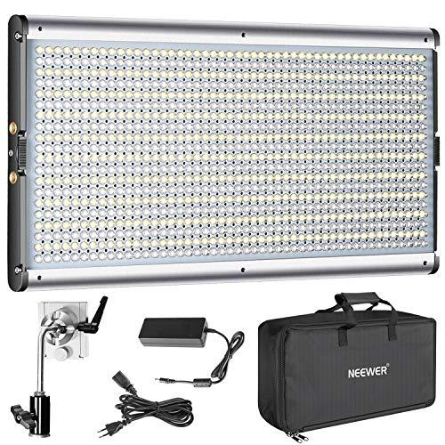 Neewer Bi-color LED Regulable de Vídeo Profesional para Estudio, Kit de Iluminación para Fotografía de YouTube al Aire Libre, Marco de Metal Durable, 960 LED Cuentas, 3200-5600K, CRI 95+