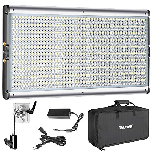 Neewer Bi-color LED Regulable de Vídeo Profesional para Estudio, Kit de Iluminación para Fotografía de YouTube al Aire Libre, Marco de Metal Durable, 960 LED Cuentas, 3200-5600K, CRI 95+