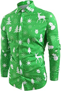 Merry Christmas Solid Color Classic Christmas Tree Snowman Decoration Print Shirt Xmas Party Beautyfine
