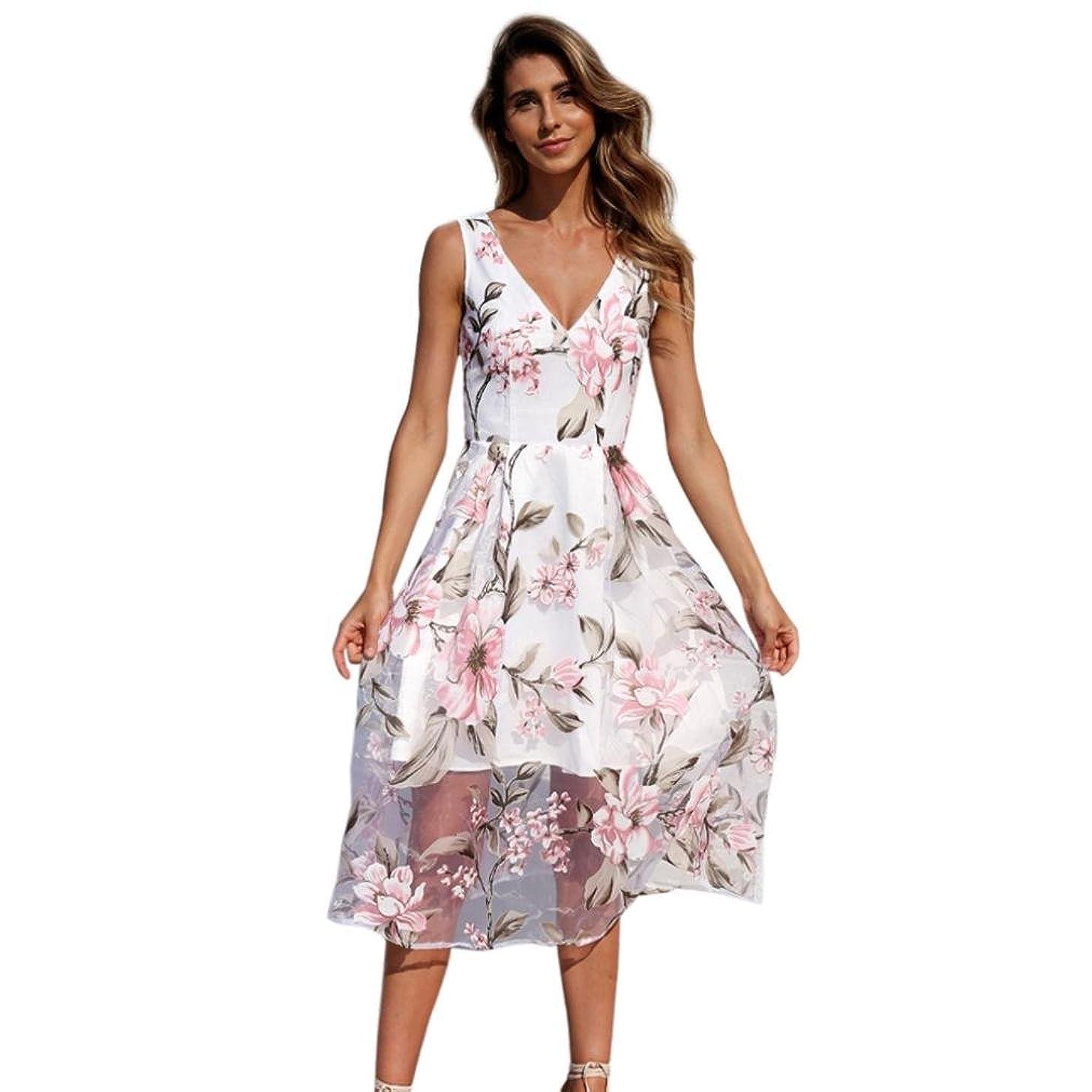 OOEOO Women Sleeveless Dress Summer V-Neck Floral Printed Long Maxi Dress