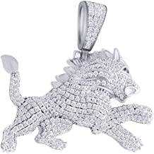 1 Cttw Round Cut White Natural Diamond Iced Out Hip Hop Jewelry Narnia Lion Charm Pendant 14K Solid Gold