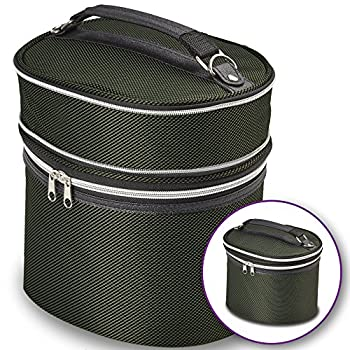 Green Wig Travel Carrying Case - Lightweight and Portable Travelling Box - Zipper Top Double Stitching - by Adolfo Design