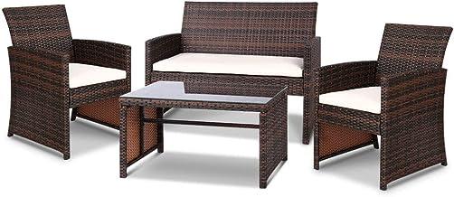 Gardeon 4pc Outdoor Furniture Rattan Chair Table Set-Brown