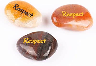 ROCKIMPACT 12PCS Respect Engraved Inspirational Stones, Pocket Word Stone River Rock, Zen Palm Stone, Positive Encouraging Rocks, Character Builder Teachings Respect is Earned (Pack of 12, Respect)