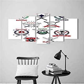 5 Panels Paintings Home Decor Wall Art Paintings on Canvas,Sports Baseball Glov Helmet Balls Crossed Bats Home Plate and Trophy Cups Poster Deco Painting.