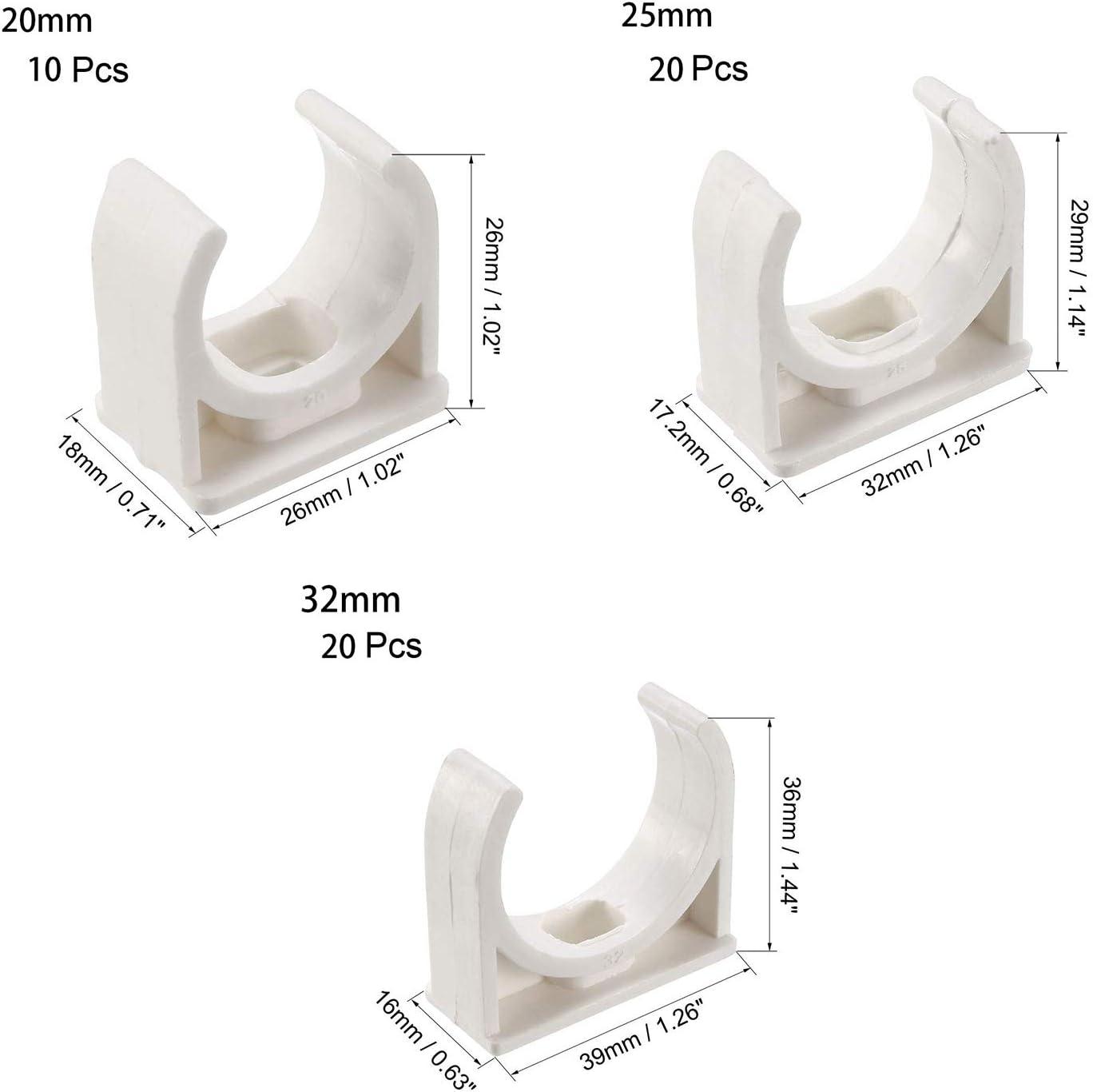 20 pezzi 20 mm adatti per vassoi TV OD da 20 mm Sourcingmap morsetti per tubo dellacqua in PVC