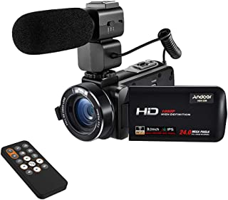 "Andoer HDV-Z20 1080P Full HD 24MP WiFi Digital Video Camera Camcorder with External Microphone 3.0"" Rotatable IPS Touchscr..."