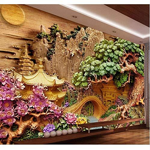 Pmhhc Papier Peint Personnalisé Ameublement Murale Reliëfs paviljoens Accueillant Pin Tv Mur Fresques Murales Fond D'Écran 3D 400 x 280 cm.