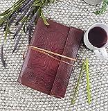 S Bazar, grande diario o agenda in pelle con albero della vita, pagine bianche, stile vintage semplice, colore marrone