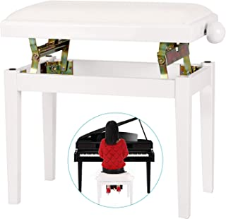 Neewer NW-018A 28.15 x 7.09 x 14.57 inches / 71.50 x 18 x 37 centimeters Height Adjustable Piano Bench with Velvet Seat and Rubber Feet Perfect for Grand Pianos, Upright Pianos (White)