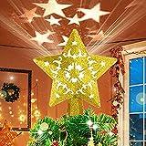 OGlink luz Superior del árbol de Navidad, Estrella de Oro Intermitente Hueca 3D, luz Superior del árbol de Navidad con proyección giratoria LED, Utilizada para la decoración del árbol de Navidad