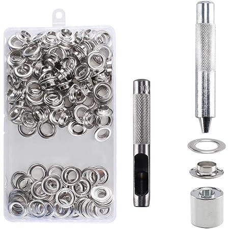HO2NLE 100 Ensembles Grommets kit Oeillets 10mm Kit de Grommets Eyelets en Metal avec Boîte de Rangement 2/5 Inch