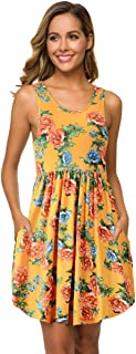 VEPKUL Womens Sleeveless Dresses Loose Plain Casual Short Floral Tunic T-Shirt Dress with Pockets