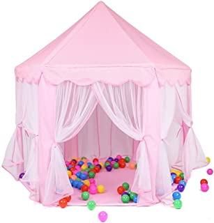 Kids Play Tent Hexagon Princess Castle Playhouse Durable Princess Tent for Children Indoor and Outdoor Castle Games (Pink)