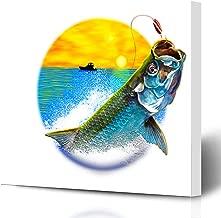 Ahawoso Canvas Prints Wall Art Printing 10x8 Green Fishing Tarpon Jumping Painting Variation Animals Wildlife Sports Recreation Blue Fish Large Painting Artwork Home Living Room Office Bedroom Dorm