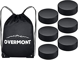 Overmont Ice Hockey Pucks, Practice Hockey Pucks, Ice Hockey Balls, Sports Fan Hockey Pucks with Gym Drawstring Bag