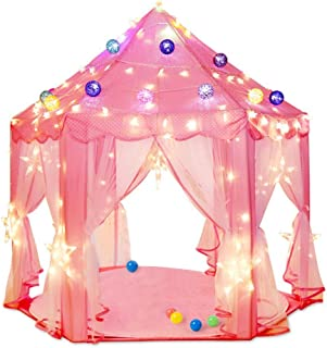 Grancy Pink Play Castle Huge Kids Play Tent Princess Castle Play Tents, Large Playhouse With Led Lights-Indoor and Outdoor Use