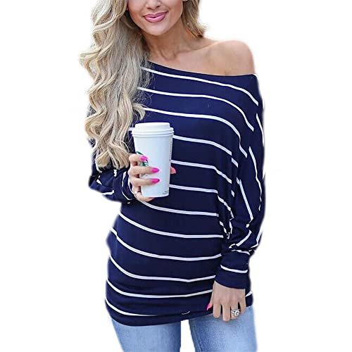 09905685906eb Qearal Womens Long Sleeve Striped Shirts Loose Casual Off Shoulder Boat Neck  Tops Blouses