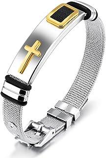 Reizteko Men Punk Stainless Steel Cross Silicone Leather Bracelet Bangle Wristband (# 1 Gold)