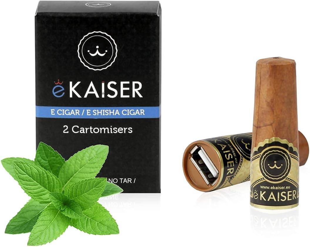 eKaiser cigarro electrónico paquete de 2 Cartomizer Sabor mentol eCigar E shisha desechable Sabores 30/70 VG/PG libre de nicotina A700 bocanadas para eKaiser USB Recarga cigarro Nube Cazador de Vape