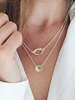Genbree Boho Layered Necklace Star Pendant Necklaces Cross Chain Neck Jewelry for Women and Girls