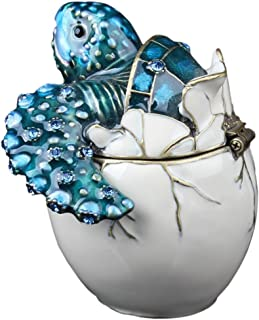 Waltz&F Trinket Box Collectible Turtle Figurines Hatching Baby Turtle From an Egg Metal Jewelry Box Hatching Egg