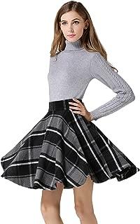 Women's Casual High Waisted Wool Check Print Plaid A-Line Skirt