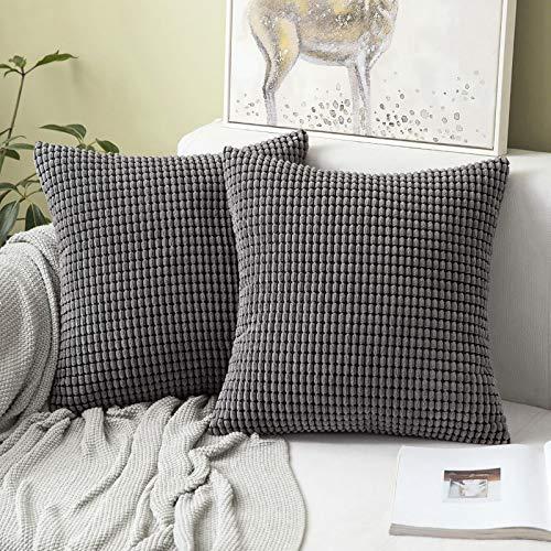 MIULEE 2er Set Kordsamt Soft Solid Dekorative Quadrat Wurf Kissenbezüge Set Kissen Fall für Sofa Schlafzimmer 26 x 26inch 65 x 65 cm Grau