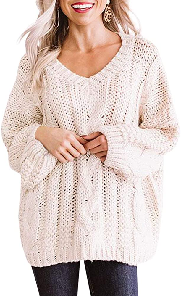 YONYWA Womens Oversized V-Neck Batwing Long Sleeve Loose Fit Chunky Knit Jumper Pullovers Sweaters