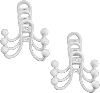 Double Coat Hook Hoops, Bronze, White & Satin Nickle Available (White- 6 Hooks)