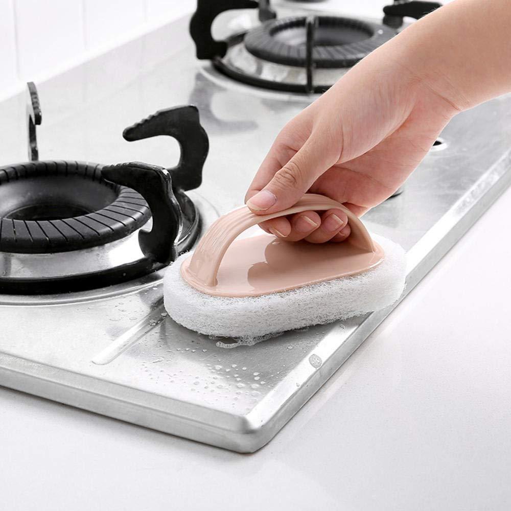 DS - Cepillo de Limpieza con Mango de Rayas, no es fácil de aceitar, Esponja para Limpiar Azulejos de Cocina, Cepillo de Limpieza para Manchas: Amazon.es: Hogar