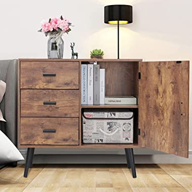 IWELL Mid Century Storage Cabinet with Door & 3 Drawers, Wood Floor Storage Cabinet with Adjustable Shelf, Accent Cabinet