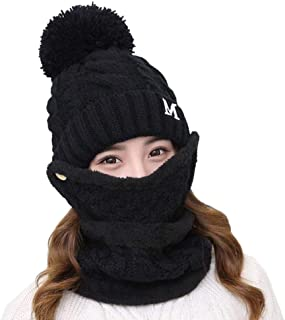 Boomly 3 En 1 Mujer Invierno Gorros Bufanda De Máscara Sombrero Bufanda De Punto con Pompom para Esquí Snowboard Ciclismo