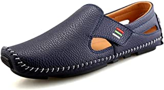 CHENDX Shoes Penny Loafers for Men Casual Shoes Perforated Breathable Anti-Slip Flat Square Toe Stitching Business Driving Walking Slip-on Microfiber Leather (Color : Blue, Size : 42 EU)