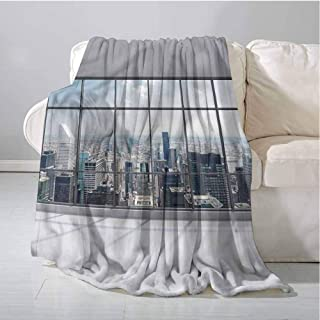 lacencn Blanket Throw, Solid Warm Super Soft Minky Blankets Multipurpose for Couch and Sofa, City | Big Window Downtown View - 40
