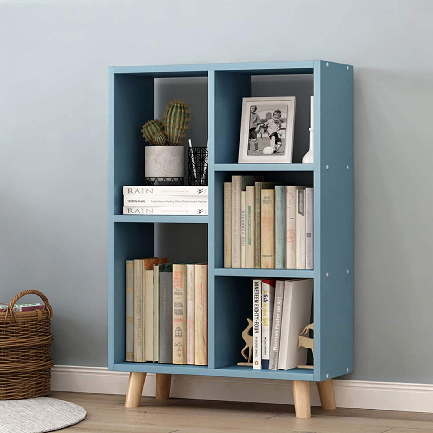 Multipurpose Bookshelf 5-Tier,Space Saving Bookcase Floor-Standing Small and Refined File cabinets Storage Organizer Shelves-bluee 90x50x25cm(35x20x10inch)