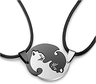 Personalized Custom Name Engraved 2pcs Stainless Steel Black and White Yin yang Matching Puzzle Cat Couples Pendant Necklace Keychain for Lover