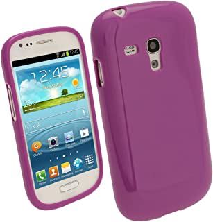 iGadgitz Purple Glossy Durable Crystal Gel Skin (TPU) Case Cover for Samsung Galaxy S3 III Mini I8190 Android Smartphone Mobile Phone + Screen Protector