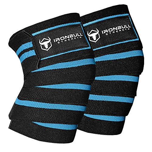 Knee Wraps (1 Pair) - 80' Elastic Knee and Elbow Support & Compression - For Weightlifting, Powerlifting, Fitness, WODs & Gym Workout - Knee Straps for Squats (Black)